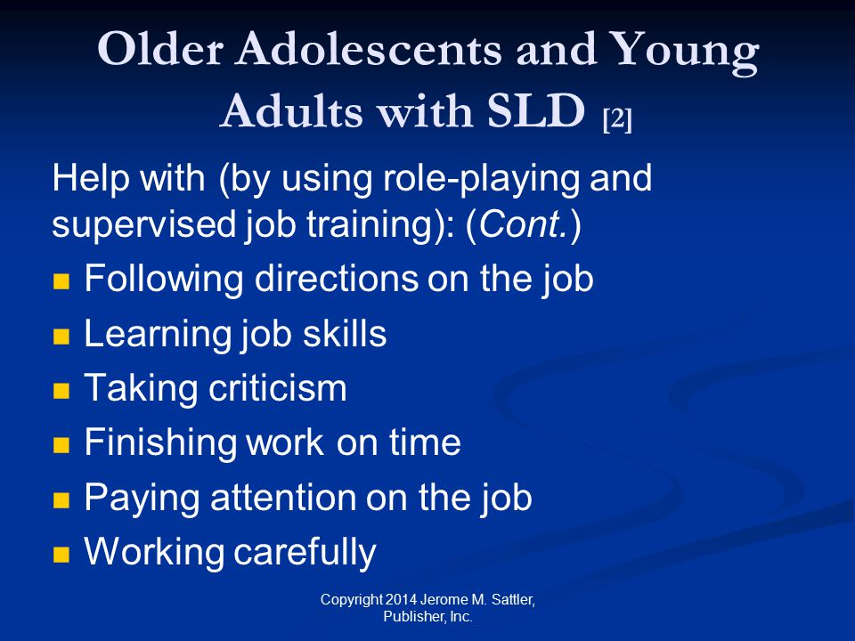 Older Adolescents and Young Adults with SLD [2]